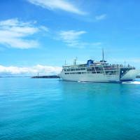 伊江島フェリーの出航