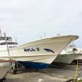 伊江島ダイビングサービス ボートの陸揚げ