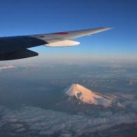JALの翼と富士山