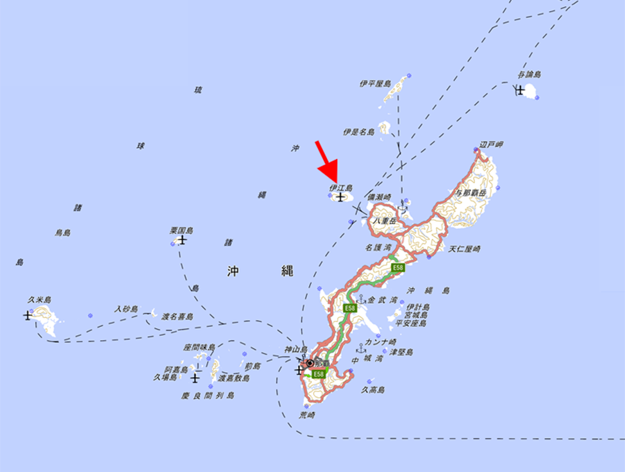 伊江島の位置 出典:国土地理院の地理院地図
