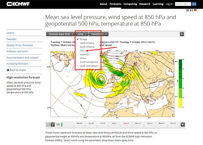 ヨーロッパ中期予報センター(ECMWF)  地域を選ぶ