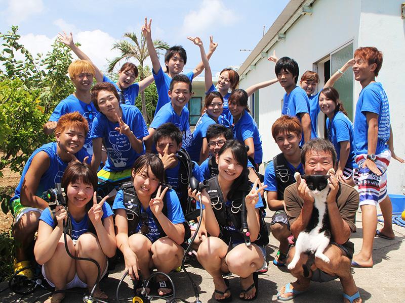 同志社大学ダイビングポイントの伊江島夏合宿スタート