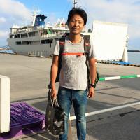 竹沢うるま、伊江島に到着